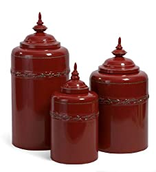 Set of 3 Lidded Red Metal Kitchen Storage Canisters