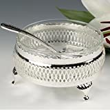 Sugar Bowl Dessert Jam Dish British Made with silver plated frame