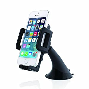 Aukey Windshield Car Mount Holder Cradle for iPhone 6, iPhone 6 Plus / iPhone 5S 5C 5 4S 4 / Samsung Galaxy S5 S4 S3, Note 3 2 / Google Nexus / HTC One, One 2 (M8) / Motorola MOTO X, G / Nokia 5020 1020 520 / LG G3, Optimus; Compact Size GPS; iPod Touch; MP3 Player and other smartphones (AK-3D)