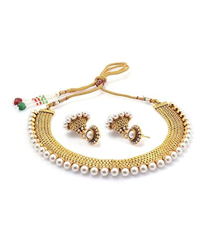 Youbella Gold-Plated Choker Necklace Set With Earring For Women