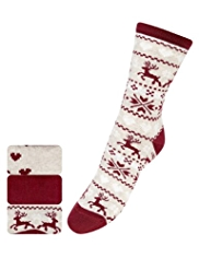 3 Pairs of Cotton Rich Fair Isle Reindeer Ankle High Socks