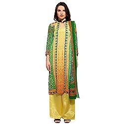 Bhelpuri Women Green and Yellow Crepe Dress Material