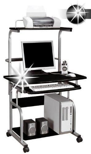Scrivania Porta Pc Valentini.Sixbros Office Scrivania Porta Pc Con Ruote Nero Lucido Ct 7800
