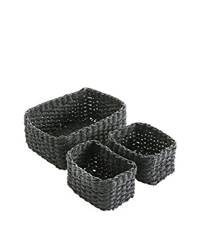 Zingst Storage Basket Set van 3 zwart