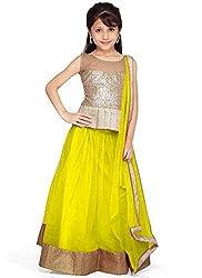 Beautiful Net Partywear Kids Yellow Lehenga Choli (32 inches , 9-10 Years)