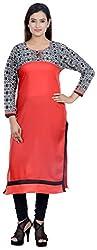 Amafhh Women's Rayon Regular Fit Kurta (amfkr7202red, Red, XX-Large)