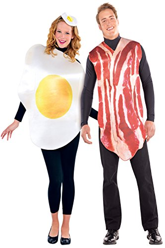 Amscan Adults Bacon & Egg Couples Fancy Dress Party Costumes Breakfast Buddies