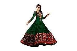 Pavani Women's Georgette Semi Stitched Dress Material (D1500173_Green_Free Size)