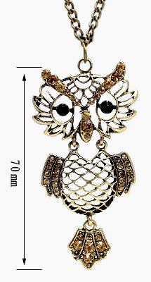 Antique Brass Color OWL Pendant with CZ crystals - comes with 22 inch chain - large eyes with Onyx stones - Beautifully designed and hand polished to a very high jewellery standard - size of pendant 5mm