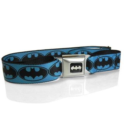 Batman Logo Seatbelt Buckle Blue Strap Belt, Official Licensed