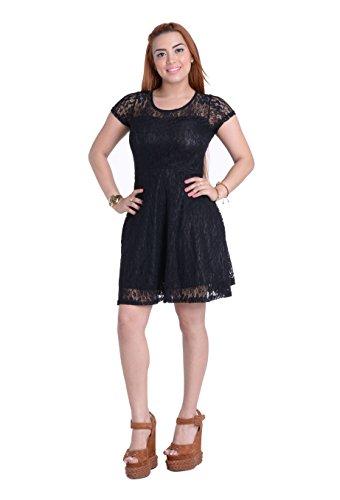 Amoluv Women Round Neck Short Sleeve Pleated Lace Slim Dress Black, Medium