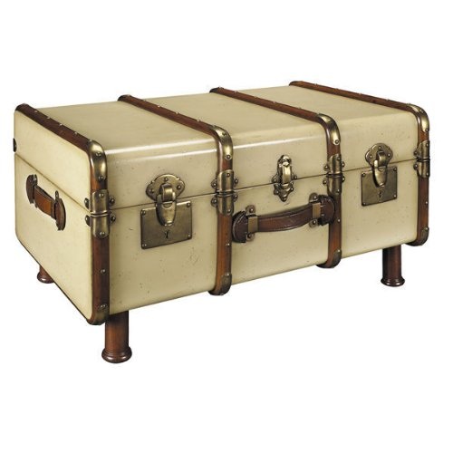 Stateroom Trunk In Ivory - 1930S Travel Replica - Features Solid Wood With Brass Maple And Dark Walnut Wood Accents - Authentic Models Mf040