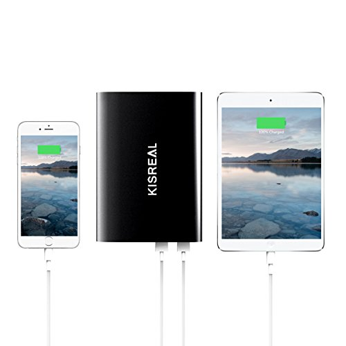 Portable Charger - Kisreal 20000mAh Ultra-slim LCD Display Power Bank Dual USB Port External Mobile Battery Pack for iPhone - Samsung Galaxy - Tablets