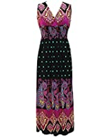 Plum Feathers Exotic Print Smocked Waist Maxi Dress Plus & Regular Sizes