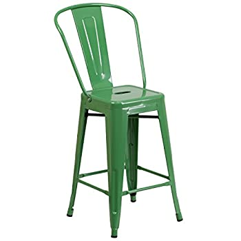 Flash Furniture 24 High Green Metal Indoor-Outdoor Counter Height Stool with Back