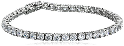 Platinum Plated Sterling Silver Round Cut 4mm Cubic Zirconia Tennis Bracelet, 8""