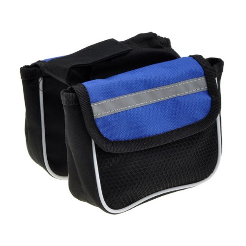 Cycling Bicycle Frame Pannier Front Tube Saddle Bag Mountain Bike Black and Blue