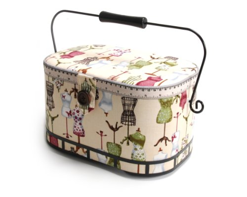 Lowest Price! Dritz St. Jane Sewing Basket, Large Oval (metal handle)