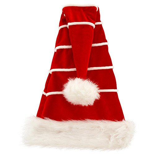 27 Inch Red Velvet Santa Hat With White Stripes