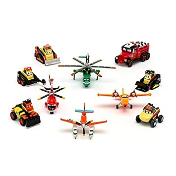 DISNEY PLANES FIRE & RESCUE FIGURINES AVION SET - Pontoon Dusty, Blade Ranger, Windlifter, Lil' Dipper, Mayday, Dynamite, Avalanche, Blackout, Drip, Pinecone (PVC, Plastic) (échelle 1:43)