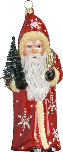 Ino Schaller Blown Glass Polish Red Snowflake Santa Ornament by Joy to the World Collectibles