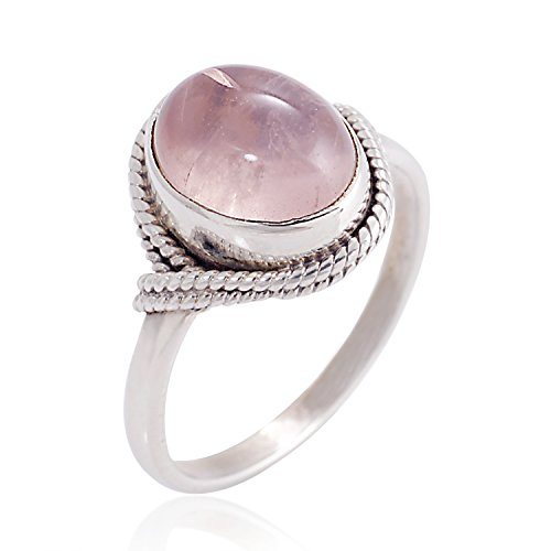 925 Sterling Silver Rose Quartz Gemstone Oval Rope Edge Vintage Band Ring Size 7 - Nickel Free (Silver Rings With Crystal Stone compare prices)