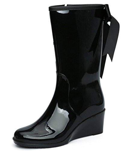 DADAWEN Women's Mid Calf Black Belt Jelly Knot Ribbon Wedge Rain Boots Black US Size 6 (Mid Heel Jellies compare prices)