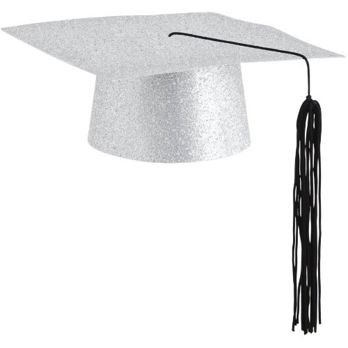 Mini Grad Hat Glitter Silver 1 Count