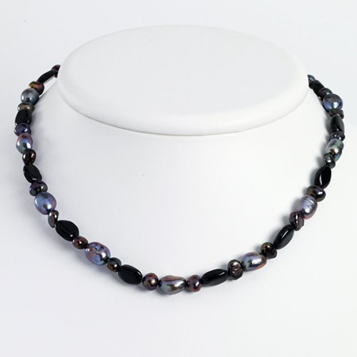 Sterling Silver Black Agate/Grey Cultured Pearl Necklace