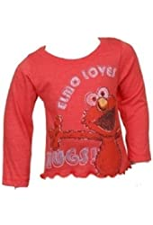 Sesame Street Little Girls' Toddler Elmo Long Sleeve Tee Shirt (4T)