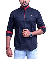 PP Shirts Men Cotton Casual Shirt ( Black XXXL )