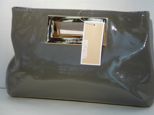 Michael Kors Berkley Light Grey Patent Leather Clutch