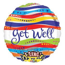 "28"" Get Well Ribbons Sing-a-tune Anagram Balloons - 1"
