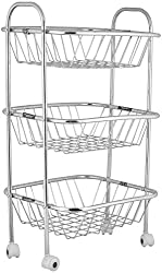 Taluka Trolley Stainless Steel Fruit And Vegetable Basket, 3 Section, TTFAVB3S