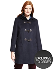 Plus Hooded Duffle Coat with Wool
