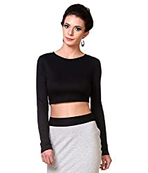 Zastraa Women's Crop Top (ZSTRTOPS0058_Black_Medium)