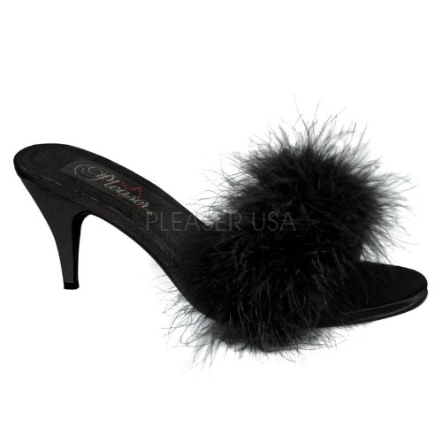 Cheap 3 inch Classic Marabou Slipper Black Satin-Fur (B007D56LDU)