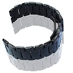 GOOQ Steel Stainless Bracelet Metal Watchband Fit for Moto 360 Smartwatch Motorola Moto 360 Watch Band Plus Free Stainless Spring Bar Tool and Screen Protector for Moto 360 Wristband (Matte Black Without Push Button)