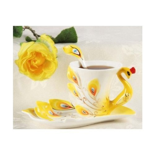 Best Price Yulinglong yellow Peacock tea coffee cup and saucer Made in Jingdezhen