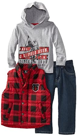 U.S. POLO ASSN. Little Boys' Vest with Tee and Pant, Red, 4T