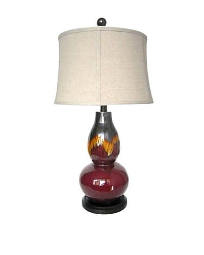 Integrity Lighting Glazed Ceramic Table Lamp, Burgundy/Orange