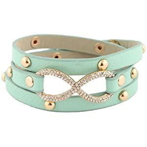 Mint with Gold Leather Infinity Wrap Around Adjustable Snap Bracelet