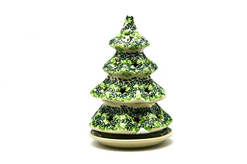 Polish Pottery Christmas Tree with Plate - Medium - Irish Meadow Polish Pottery Christmas Tree