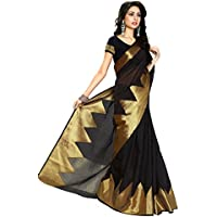 Anjani Enterprise Women's Black Kanjivaram Cotton Saree With Blouse Piece