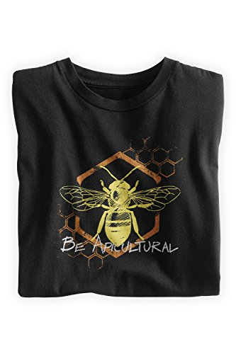 Green 3 Apparel Men'S Organic Usa-Made Be Apicultural Tee (L, Black) front-191244
