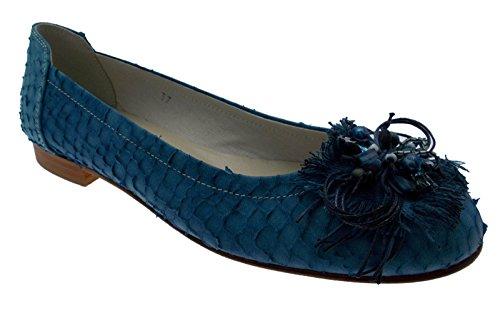 ballerina pelle stampata blu avio jeans applicazione art 484 41 blu