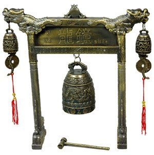 Oriental Furniture Unique Anniversary or Father's Day Gift Guy Him Man, 8-Inch Tao Dragon Arch Bell Gong Chime Antique Desk Accessories