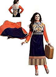 Stutti Fashion Blue Color Embroidery Semi-stitched Salwar Suit Dress Material