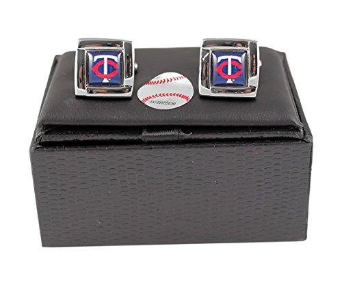 Minnesota Twins MLB Sports Fan Team Logo Square Engraved Design Mens Shirt Cufflinks Gift Box Set