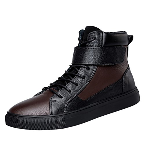 BESTSELLER UK #1 SPADES & CLUBS MENS GENUINE LEATHER LEISURE FASHION HIGH TOP VELCRO LACE UP FLAT SHORT BOOT FOR FOUR SEASONS SIZE 10.5 UK BLACK BROWN BEST BUY PRICE REVIEW UK
